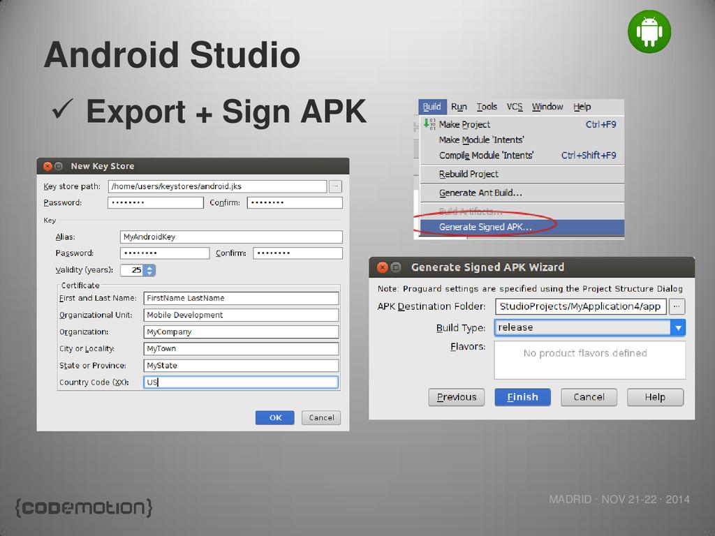 MADRID · NOV 21-22 · 2014 Android Studio  Expo...