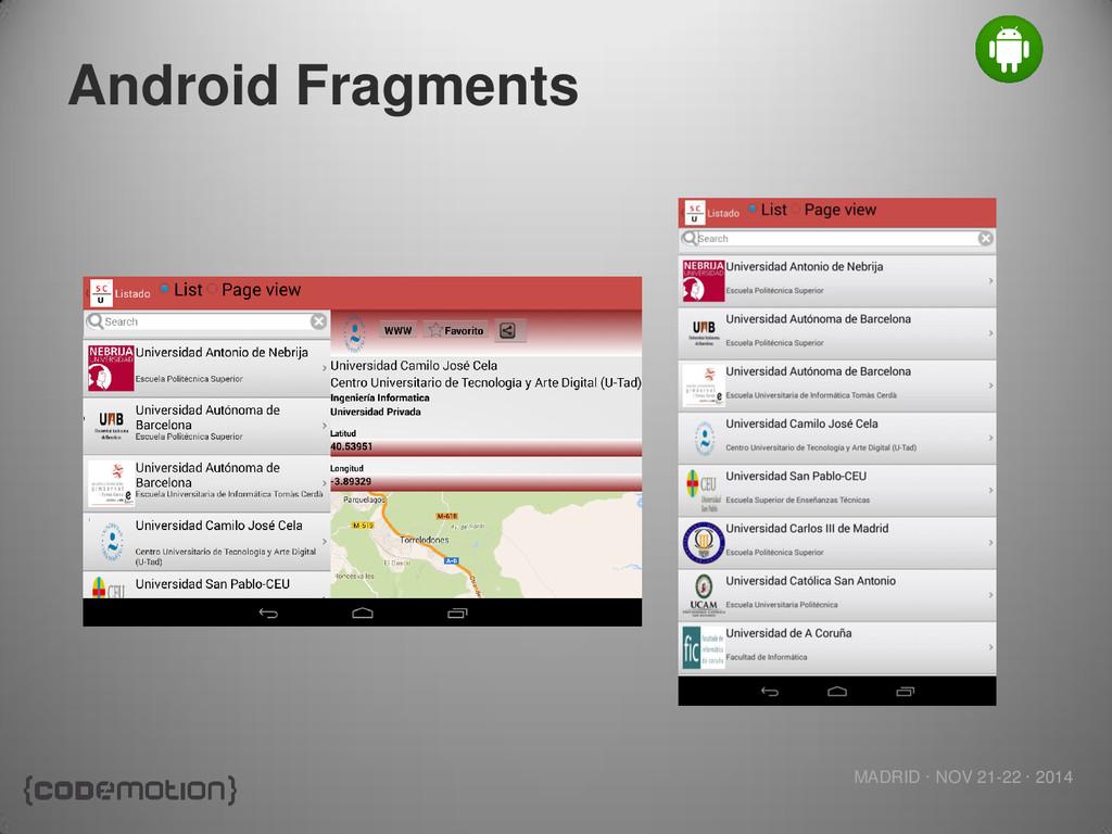 MADRID · NOV 21-22 · 2014 Android Fragments