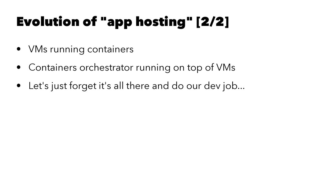"""Evolution of """"app hosting"""" [2/2] • VMs running ..."""