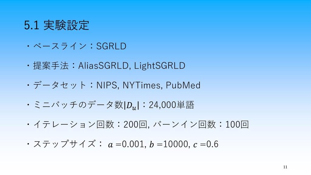 11 5.1 実験設定 ・ベースライン:SGRLD ・提案手法:AliasSGRLD, Lig...