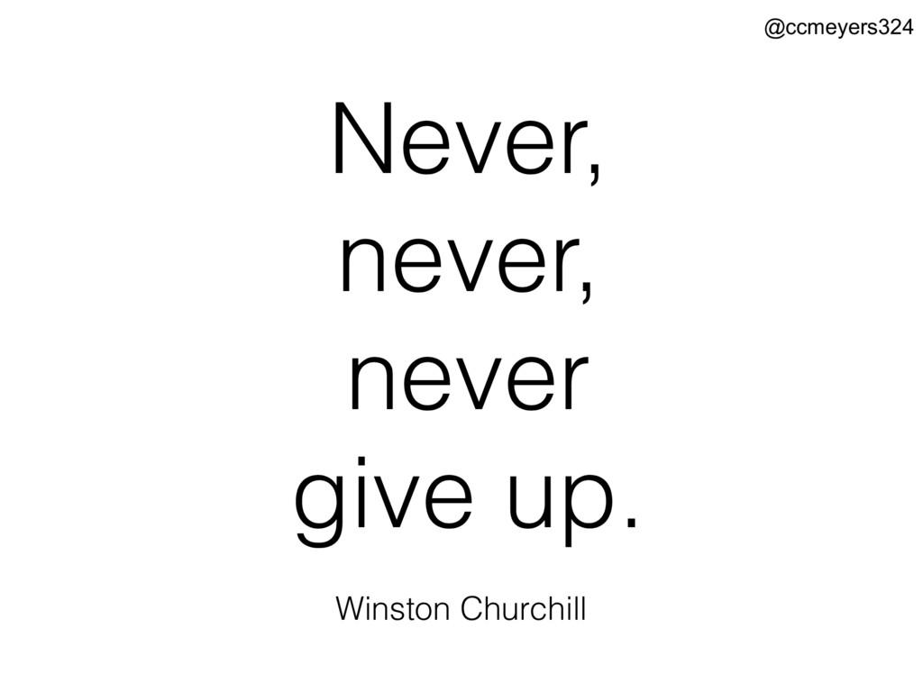 Never, never, never give up. Winston Churchill ...