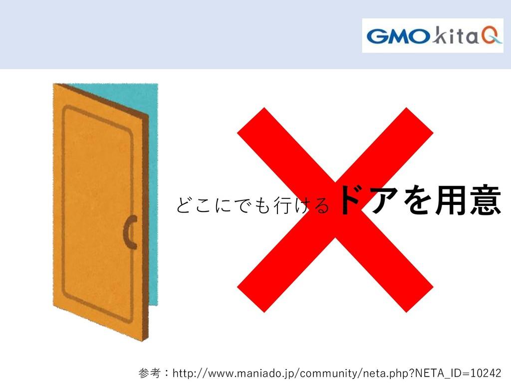 どこにでも行ける ドアを用意 参考:http://www.maniado.jp/communi...