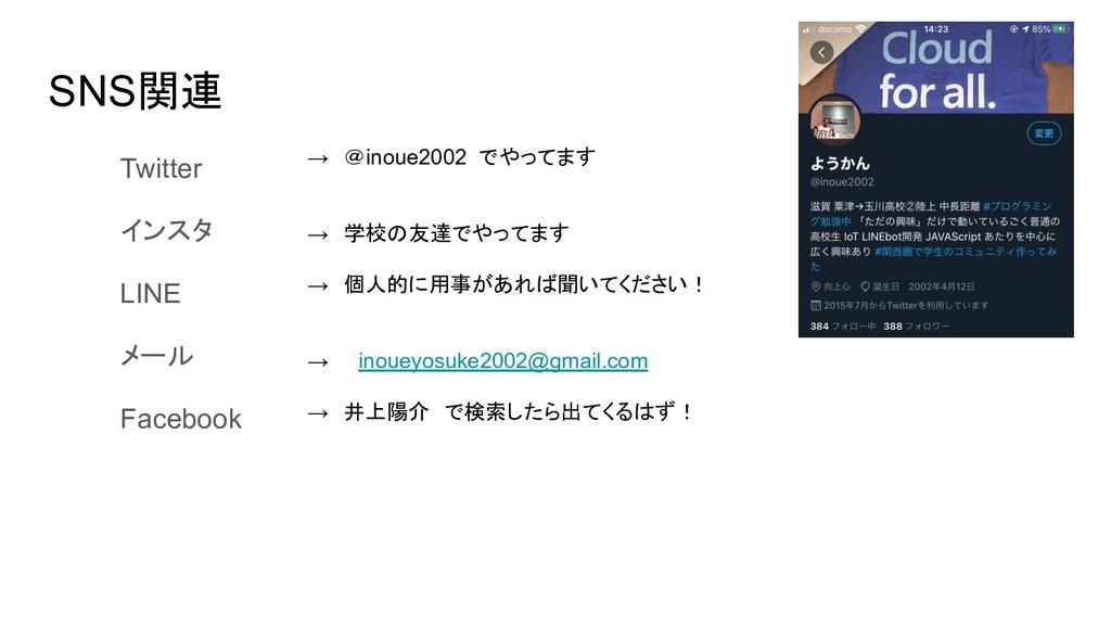 SNS関連 Twitter   インスタ LINE メール Facebook → @inoue...
