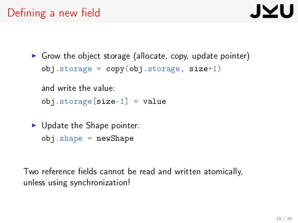 Defining a new field Grow the object storage (all...