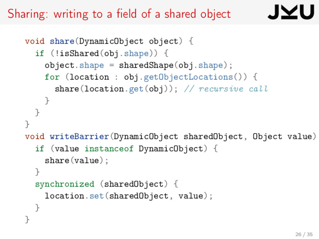 Sharing: writing to a field of a shared object v...