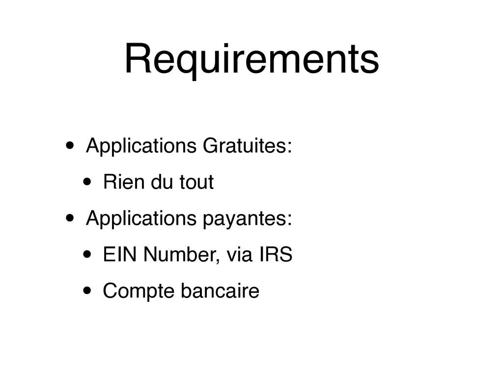 Requirements • Applications Gratuites: • Rien d...