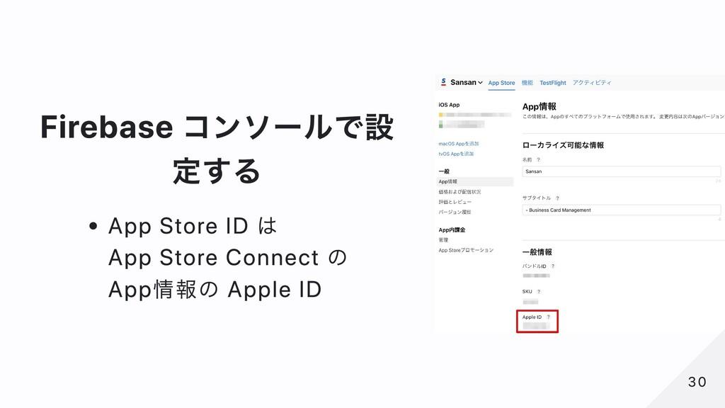 Firebase コンソールで設 定する App Store ID は App Store C...