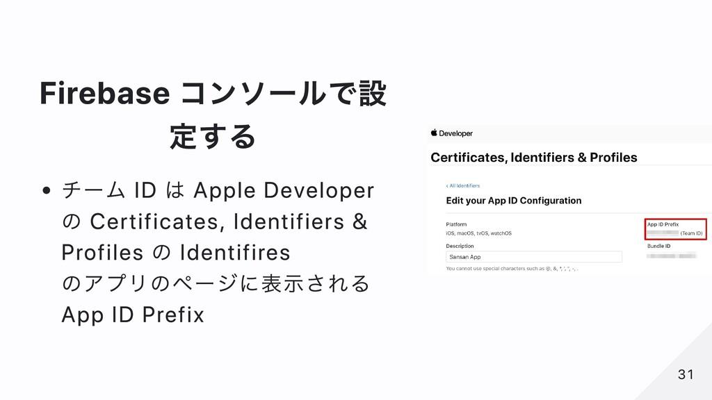 Firebase コンソールで設 定する チーム ID は Apple Developer の...
