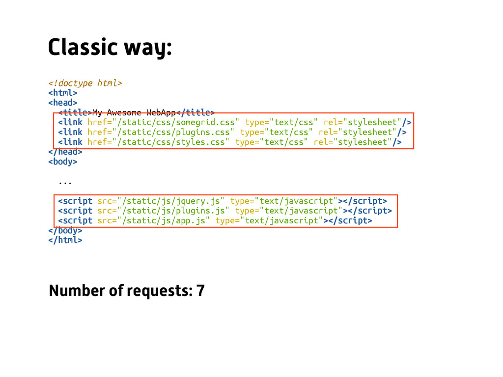 Classic way: <!doctype html> <html> <head> <tit...