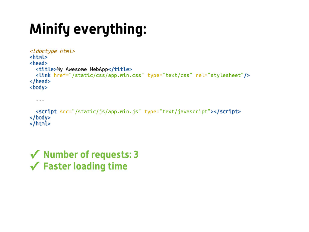 Minify everything: <!doctype html> <html> <head...