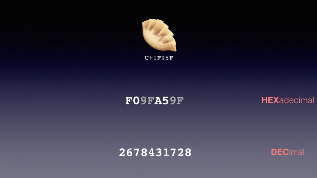 U+1F95F 2678431728 F09FA59F HEXadecimal DECimal