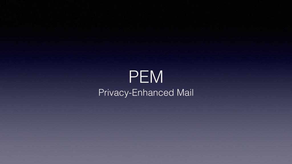 PEM Privacy-Enhanced Mail