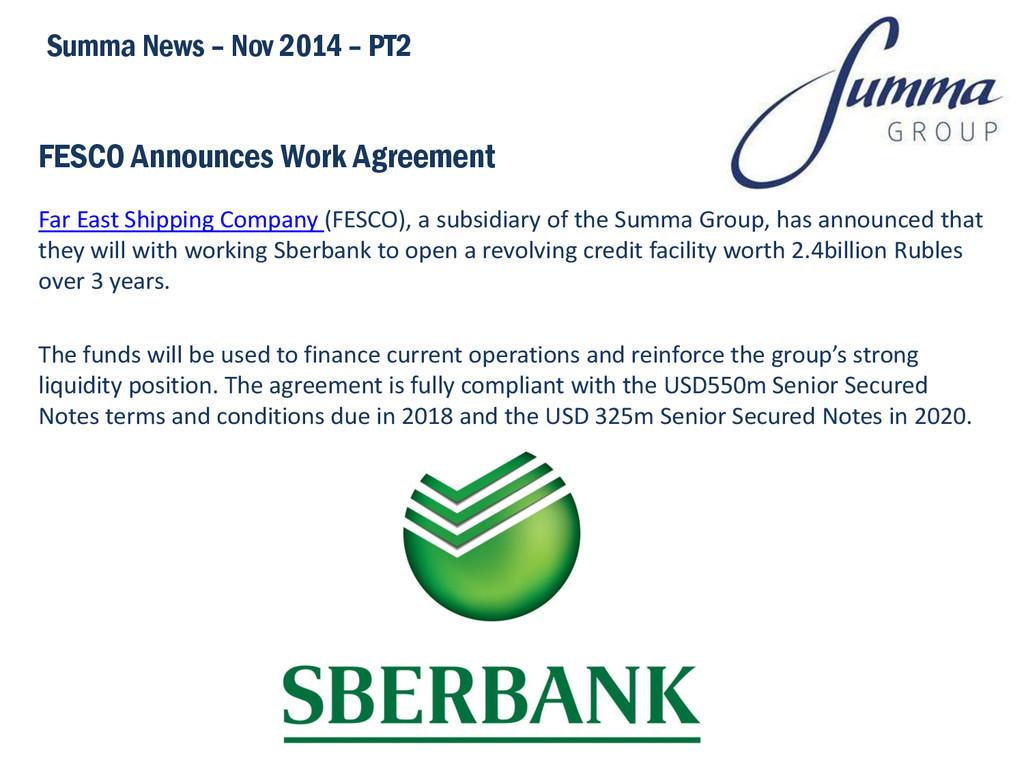FESCO Announces Work Agreement Far East Shippin...