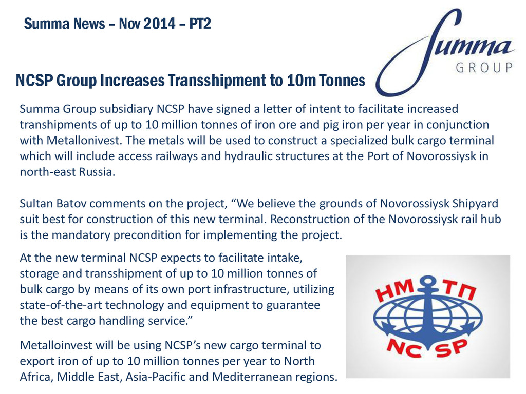 NCSP Group Increases Transshipment to 10m Tonne...