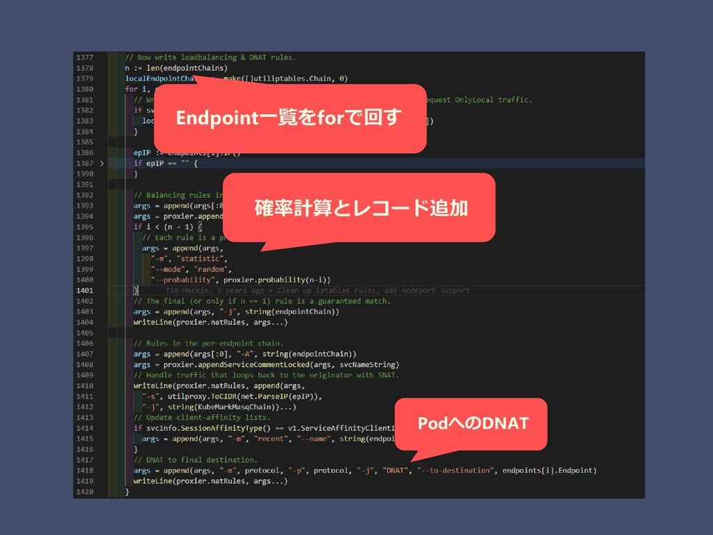 確率計算とレコード追加 Endpoint一覧をforで回す PodへのDNAT