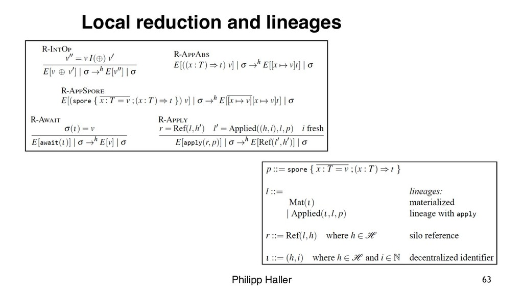 Philipp Haller 63 Local reduction and lineages