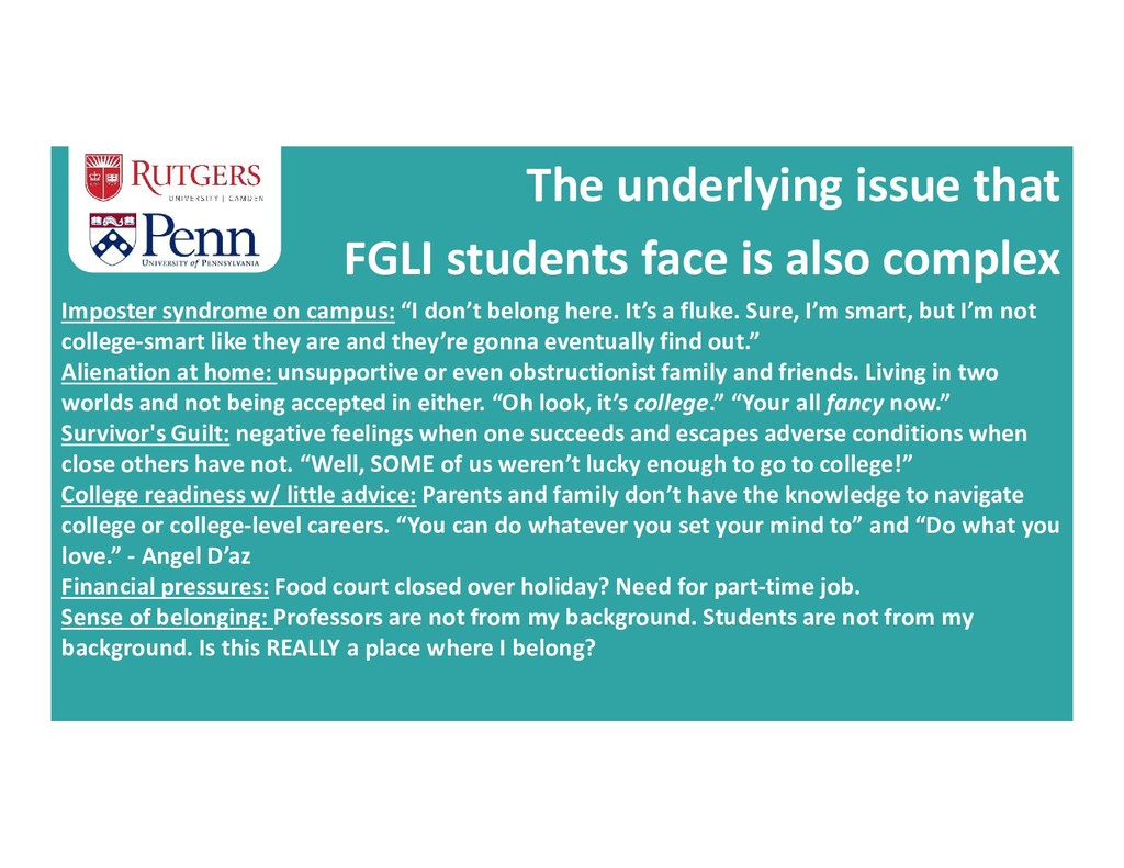 The underlying issue that FGLI students face is...