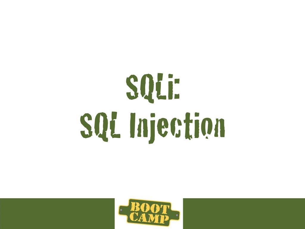 SQLi: SQL Injection