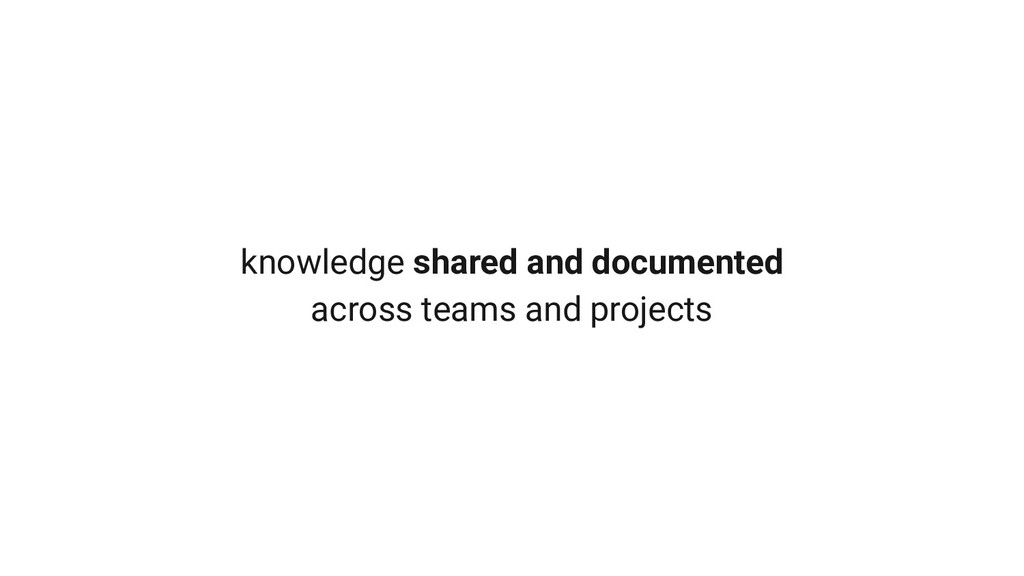 knowledge shared and documented across teams an...