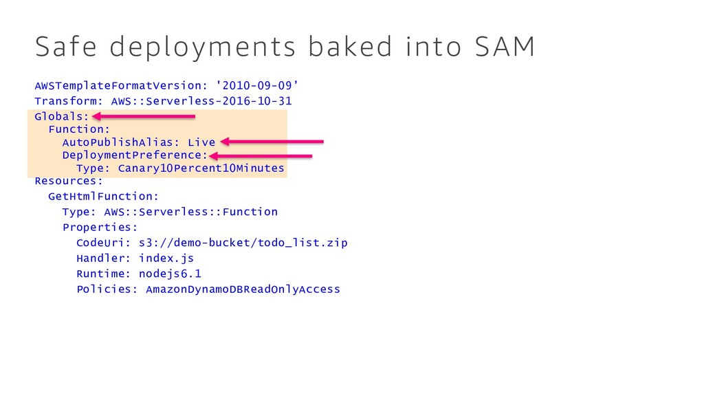 Safe deployments baked into SAM AWSTemplateForm...