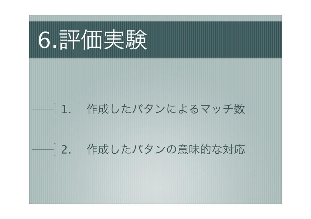 6.ධՁ࣮ݧ 1. ɹ࡞ͨ͠ύλϯʹΑΔϚον 2. ɹ࡞ͨ͠ύλϯͷҙຯతͳରԠ