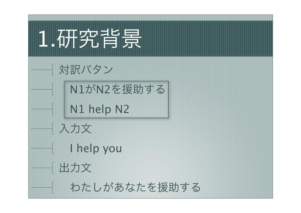 1.ݚڀഎܠ ର༁ύλϯ ɹN1͕N2Λԉॿ͢Δ ɹN1 help N2 ೖྗจ ɹI hel...