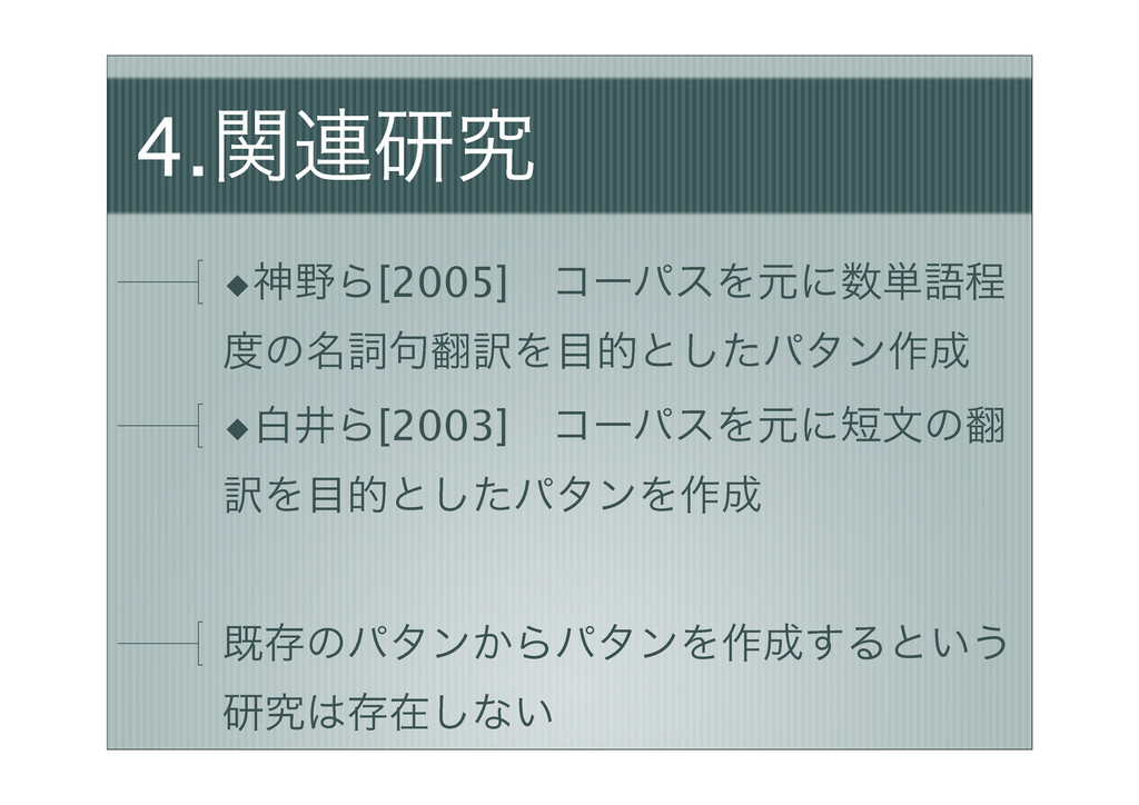 4.ؔ࿈ݚڀ ◆ਆΒ[2005]ɹίʔύεΛݩʹ୯ޠఔ ͷ໊ࢺ۟༁Λతͱͨ͠ύλϯ࡞...
