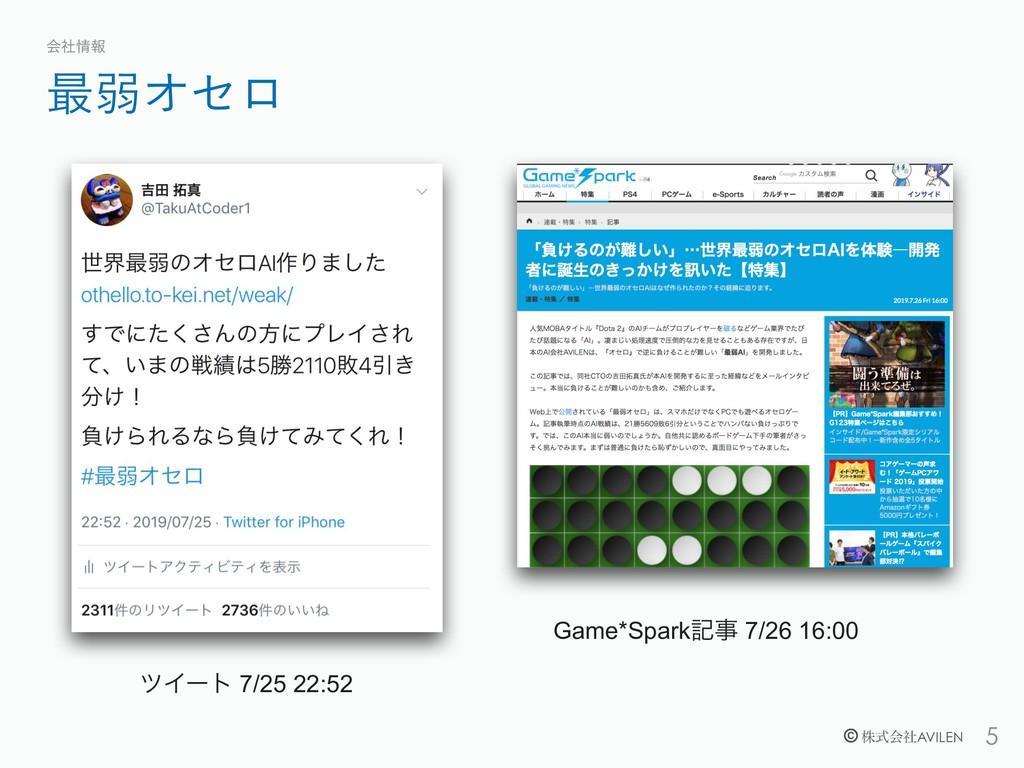 !5 © גࣜձࣾAVILEN ࠷ऑΦηϩ ձࣾใ  Game*Sparkه 7/26 ...
