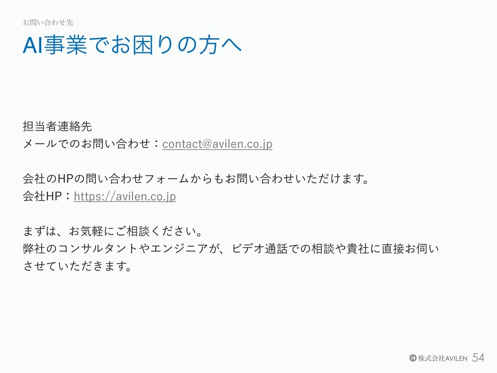 !54 © גࣜձࣾAVILEN AIۀͰ͓ࠔΓͷํ ͓͍߹Θͤઌ ୲ऀ࿈བྷઌ ϝʔ...