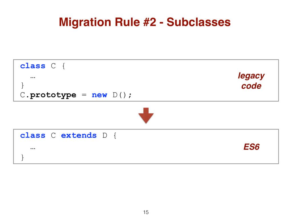 15 Migration Rule #2 - Subclasses class C { … }...