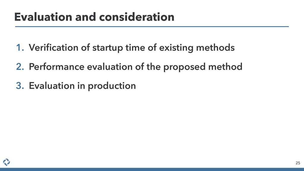 1. Verification of startup time of existing meth...