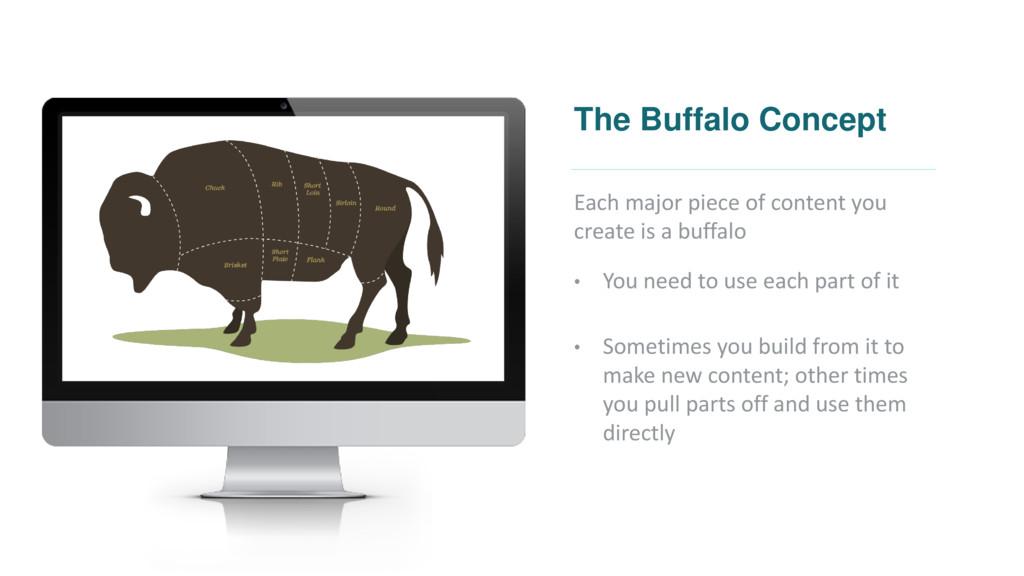 The Buffalo Concept Each major piece of content...