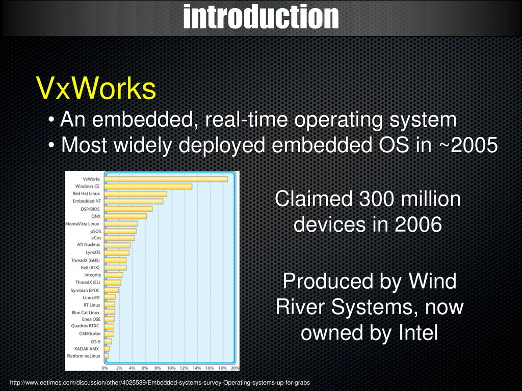 introduction VxWorks • An embedded, real-time o...