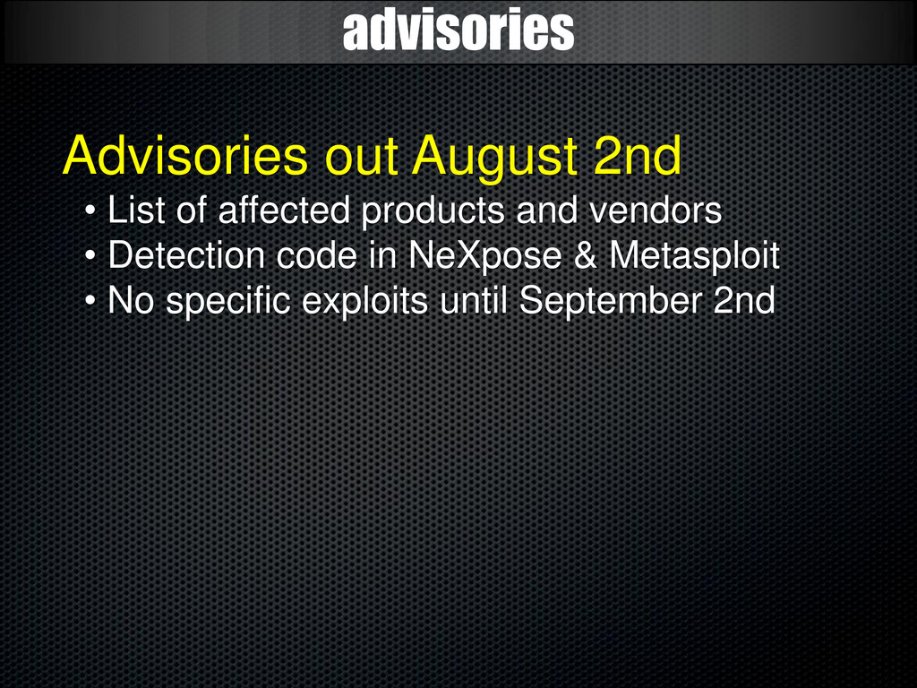 advisories Advisories out August 2nd • List of ...