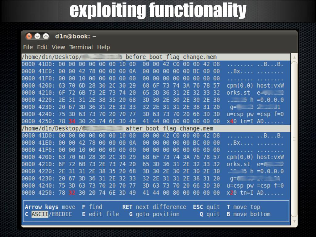 exploiting functionality