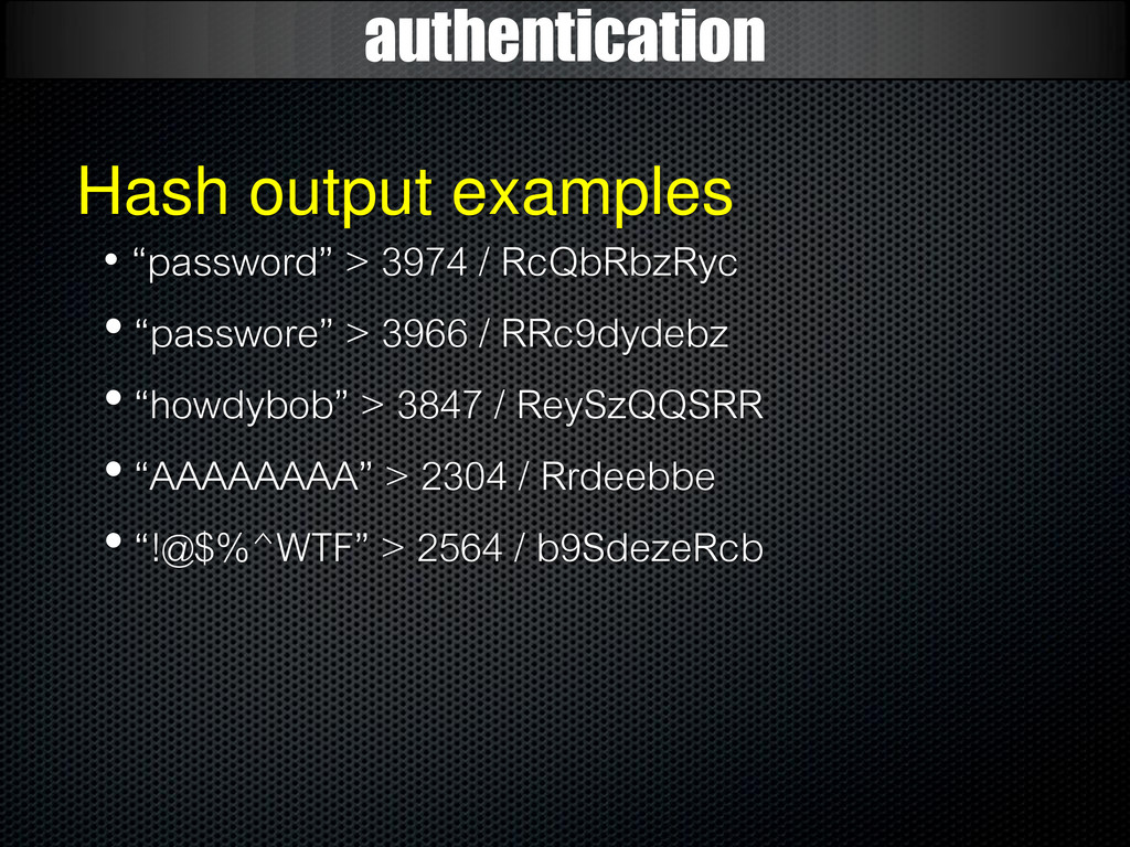 "authentication Hash output examples • ""password..."