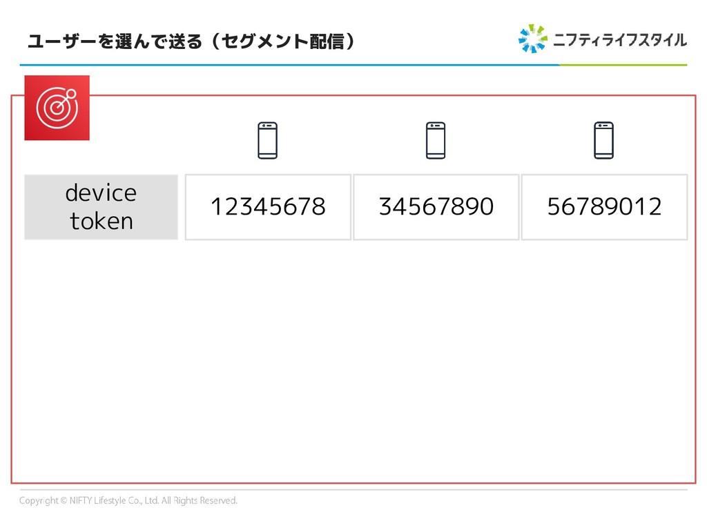ユーザーを選んで送る(セグメント配信) device token 12345678 34567...