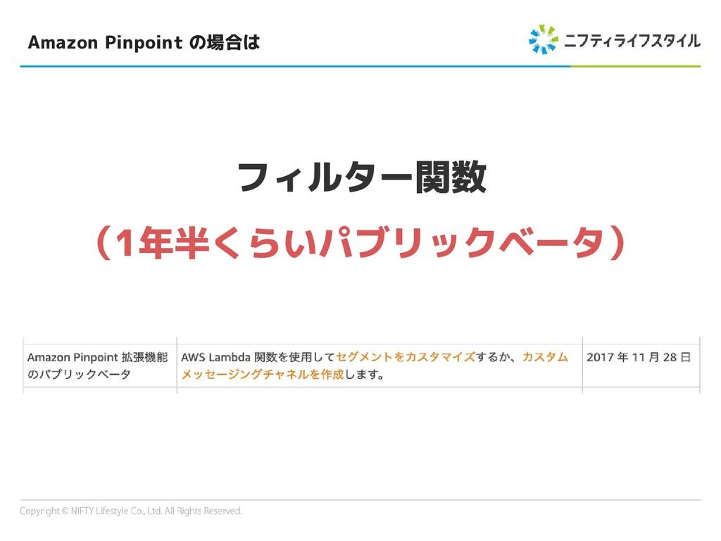Amazon Pinpoint の場合は フィルター関数 (1年半くらいパブリックベータ)