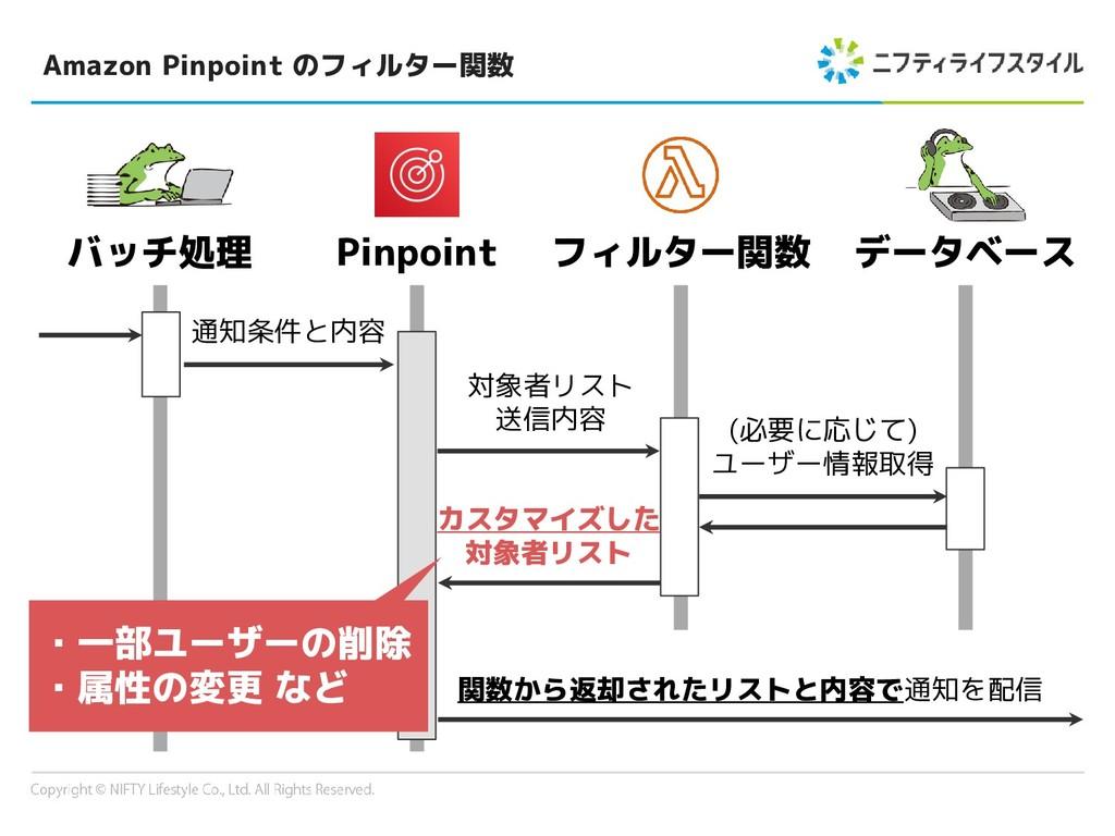 Amazon Pinpoint のフィルター関数 バッチ処理 データベース Pinpoint ...