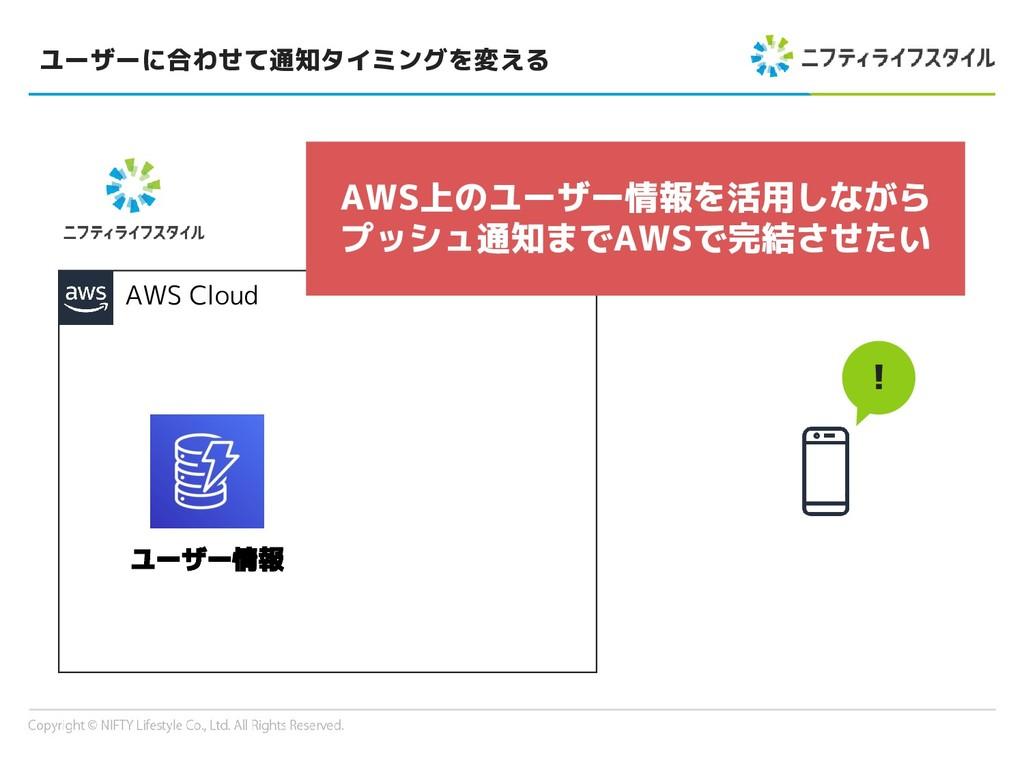 ユーザーに合わせて通知タイミングを変える AWS Cloud ! ユーザー情報 AWS上のユー...