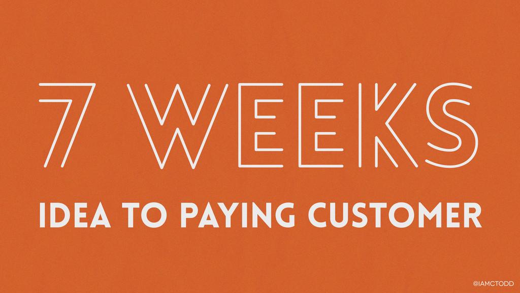 @iamctodd 7 weeks Idea to paying customer