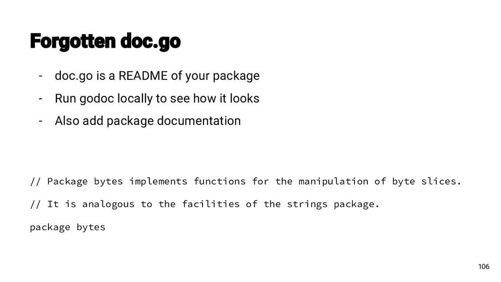 106 - doc.go is a README of your package - Run ...