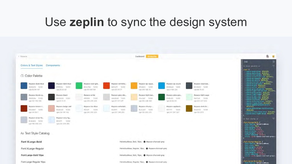 Use zeplin to sync the design system