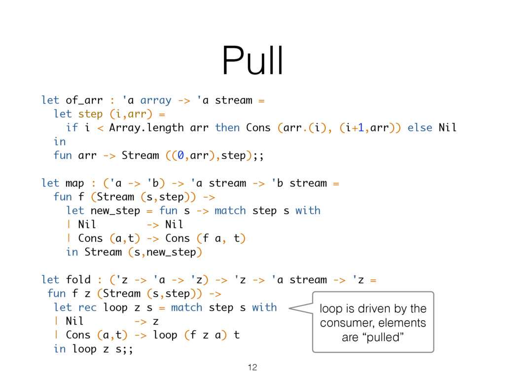 Pull let of_arr : 'a array -> 'a stream = let s...