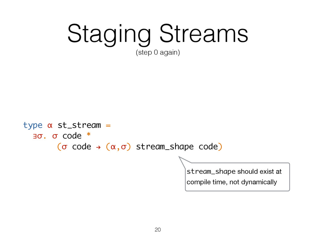 Staging Streams (step 0 again) type α st_stream...