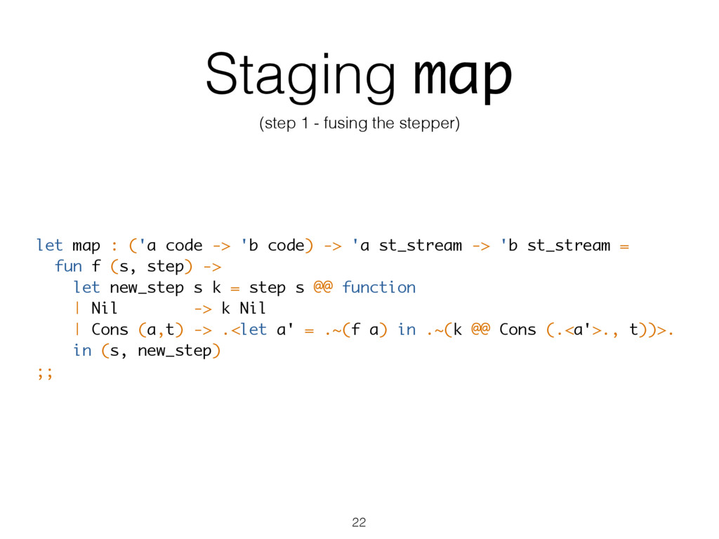 Staging map (step 1 - fusing the stepper) let m...