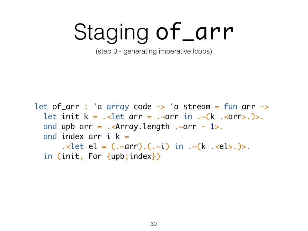 Staging of_arr (step 3 - generating imperative ...