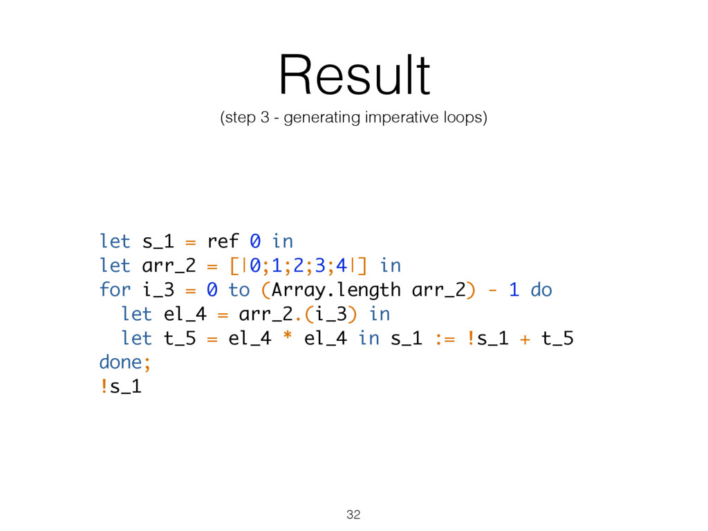 Result (step 3 - generating imperative loops) l...
