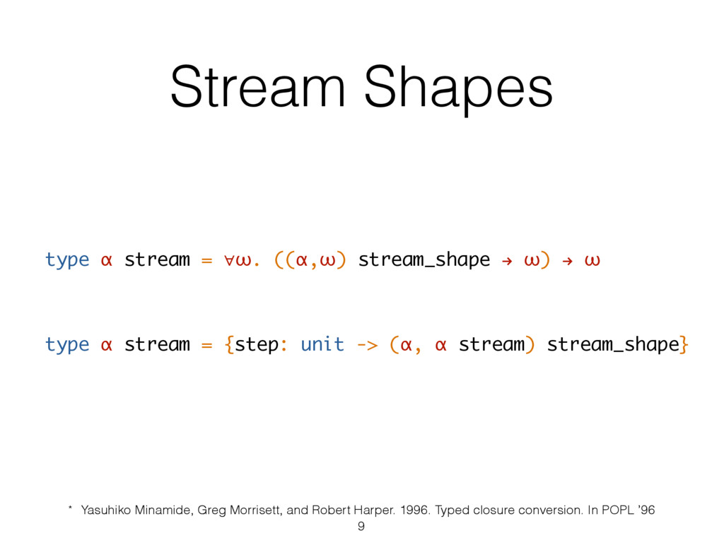 Stream Shapes type α stream = ∀ω. ((α,ω) stream...