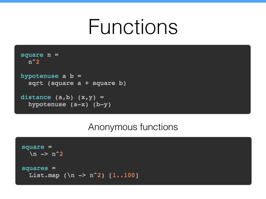Functions Anonymous functions